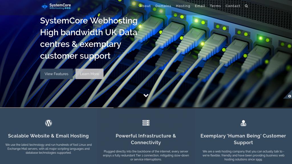 SystemCoreWebHosting home page image